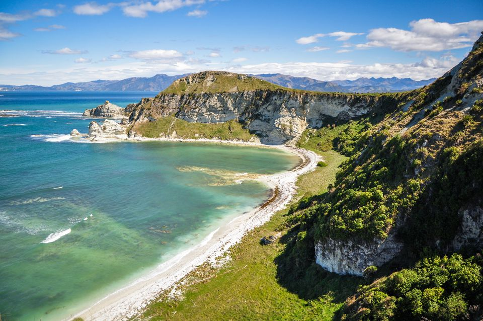mountains and shore in Kaikoura New Zealand