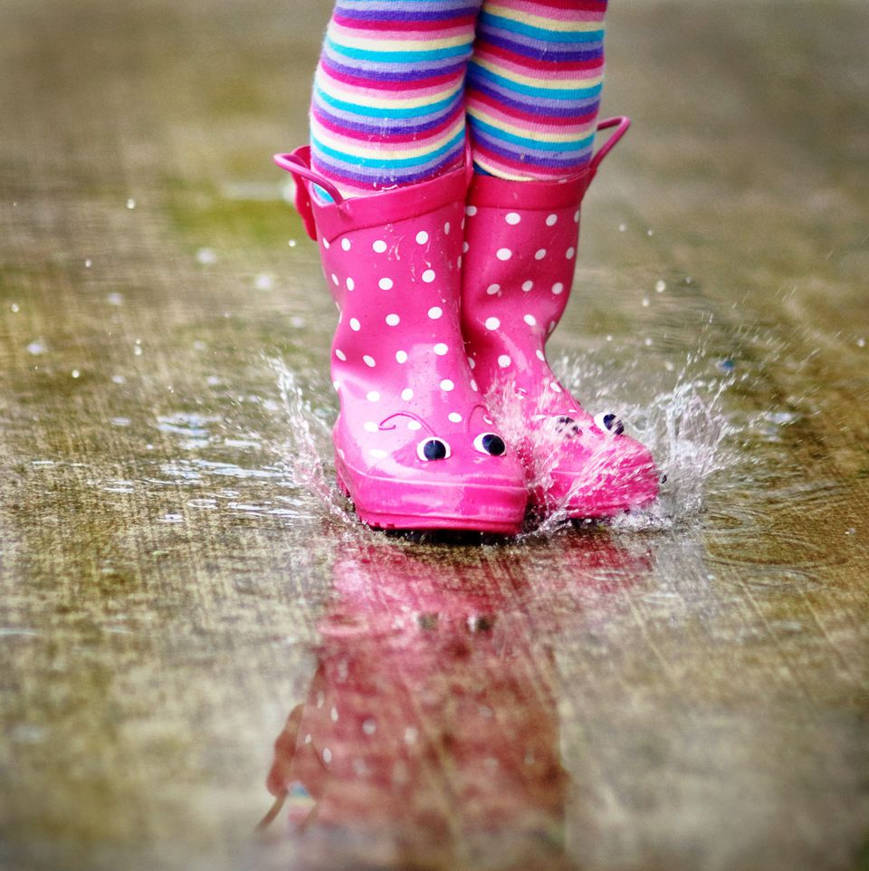 Rain boots stomping in puddle