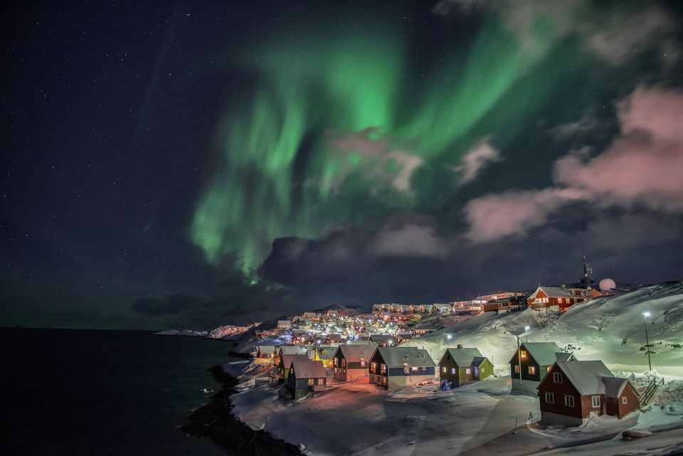Winter night in Nuuk, Greenland
