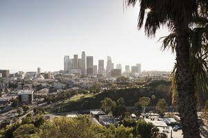 Sunny cityscape, Los Angeles, California, USA