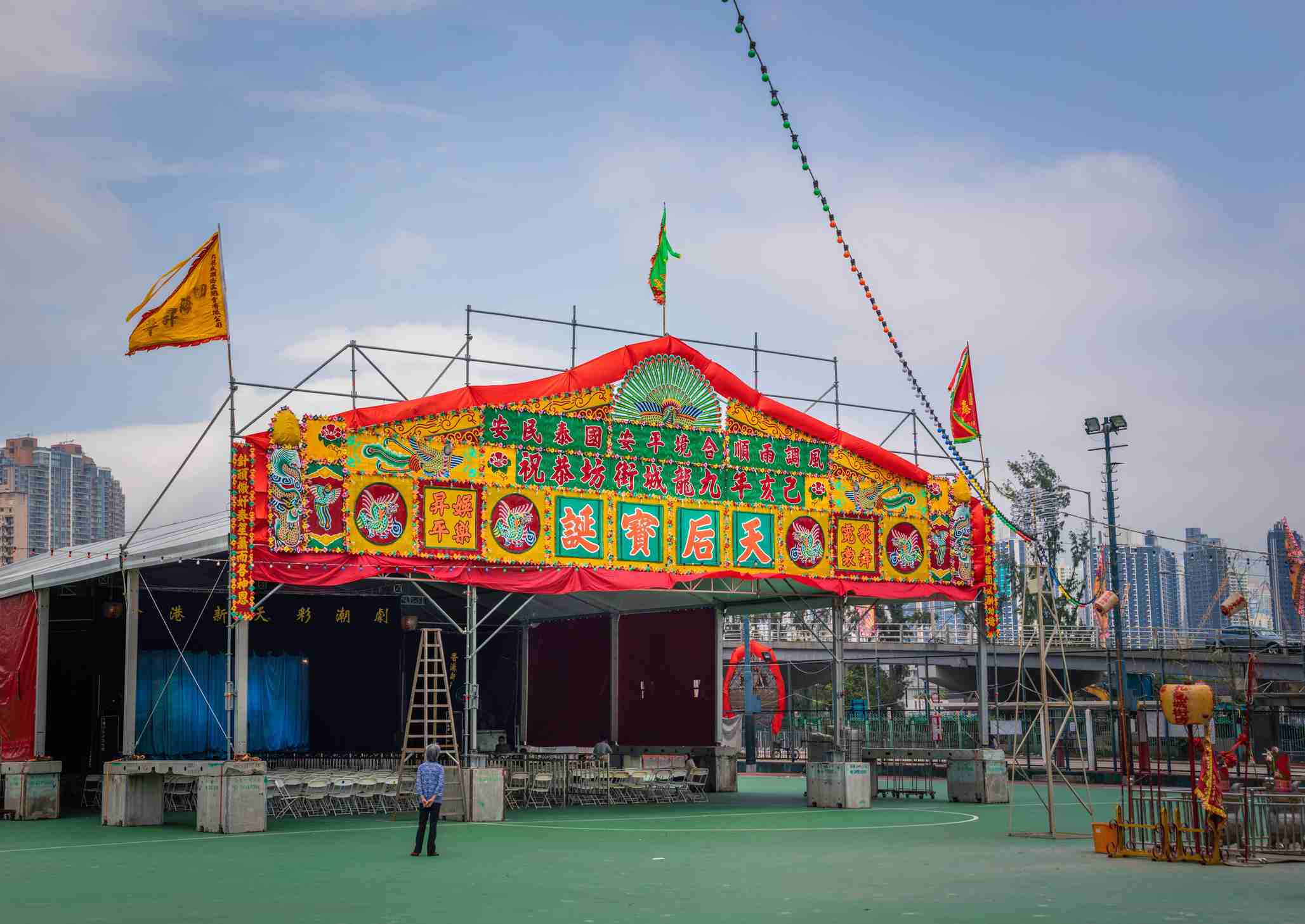 Chinese opera stage for Hungry Ghost Festival, Hong Kong