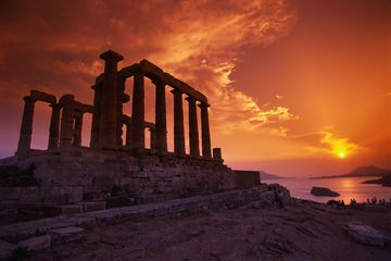 The temple of Poseidon in Cape Sounion, Athens, Greec