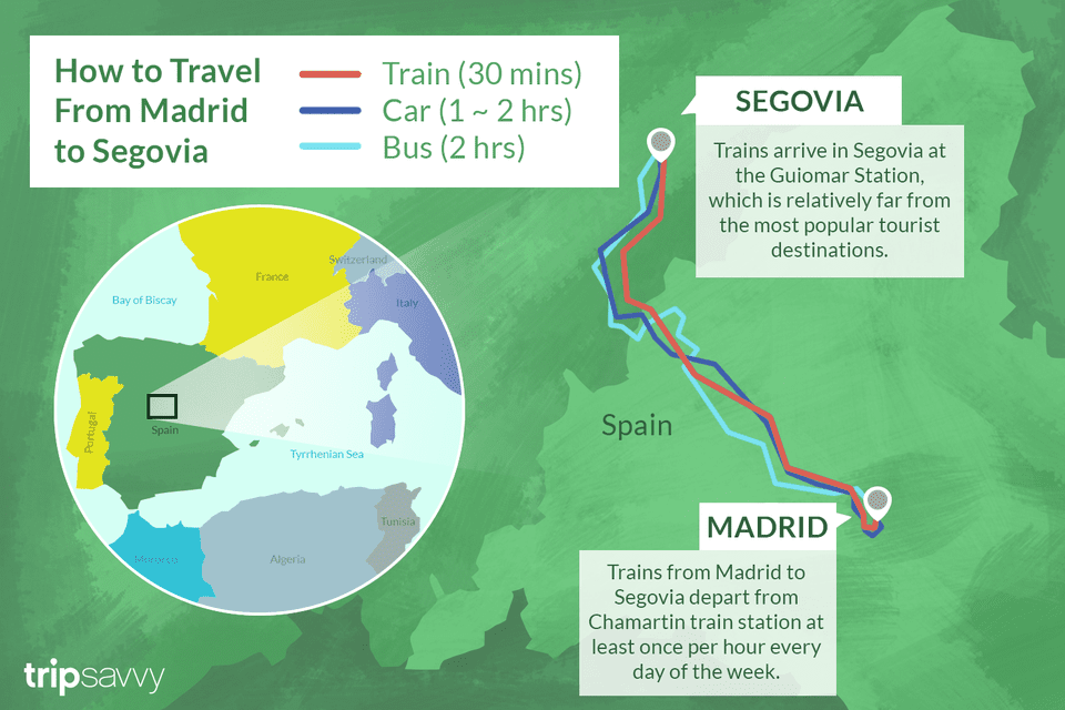 How to Get From Madrid to Segovia by Bus or Train San Go Train Map on