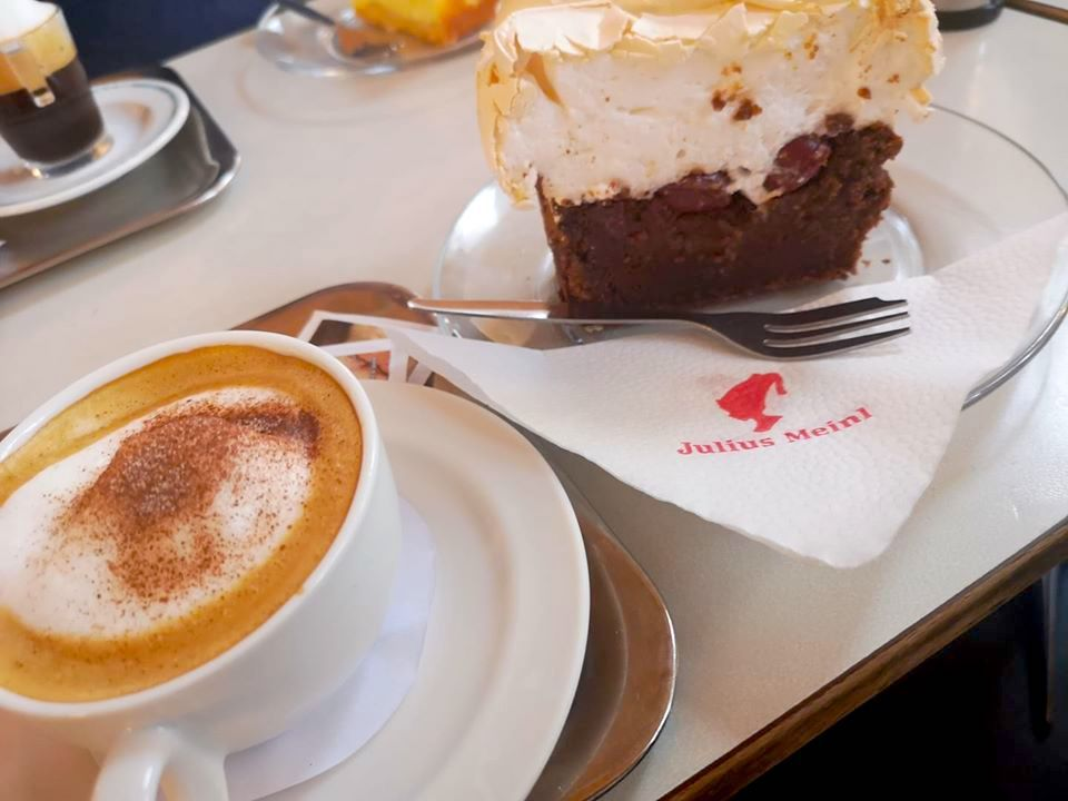 Coffee and cake at Cafe Pruckel, Vienna