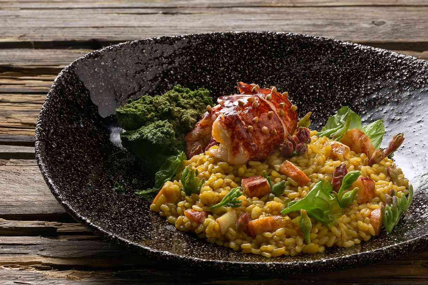 Lobster tail on top of risotto