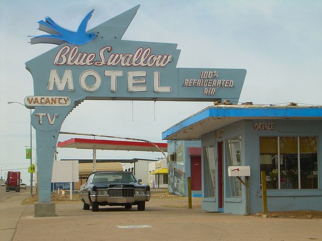 sign for the Blue Swallow Motel on route 66