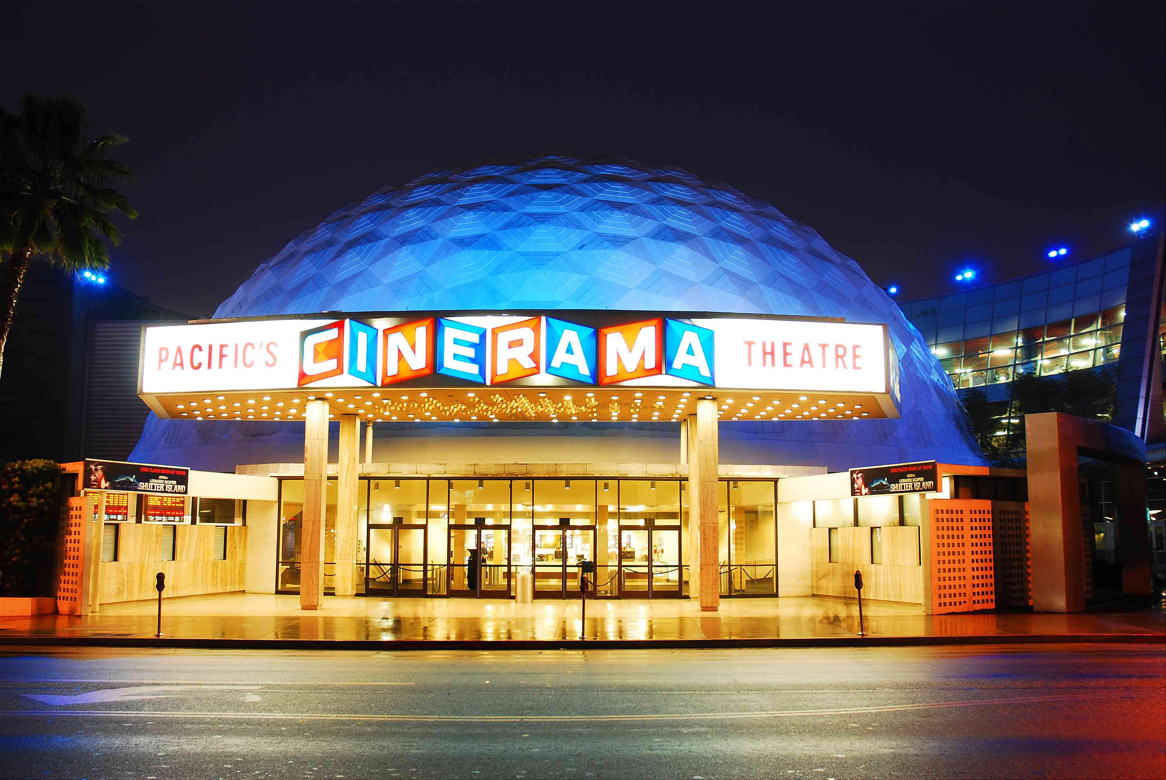 Cinerama Dome exterior at night