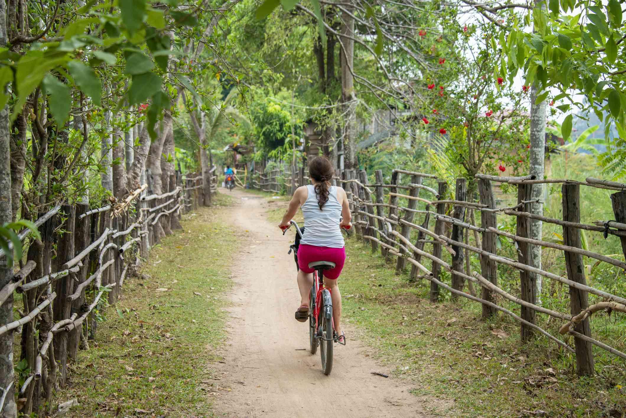 Bicycling in Don Det, Laos