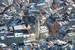 Germany, Baden-Wuerttemberg, Ravensburg, Cityscape in winter, aerial view