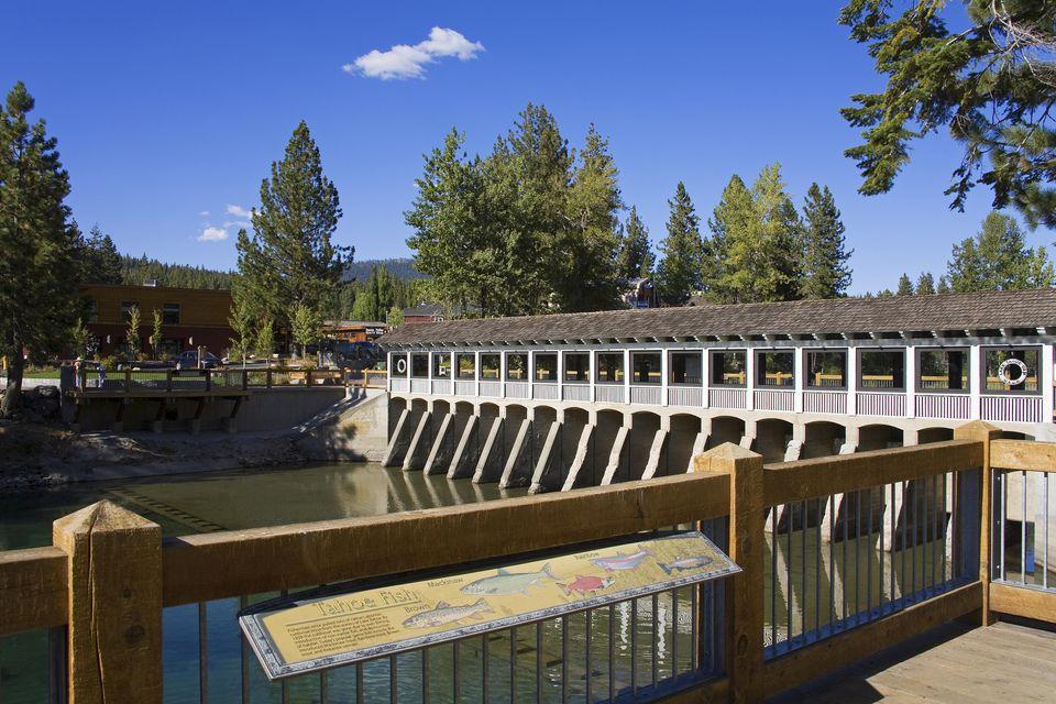 Tahoe City Dam on Truckee River, Lake Tahoe.