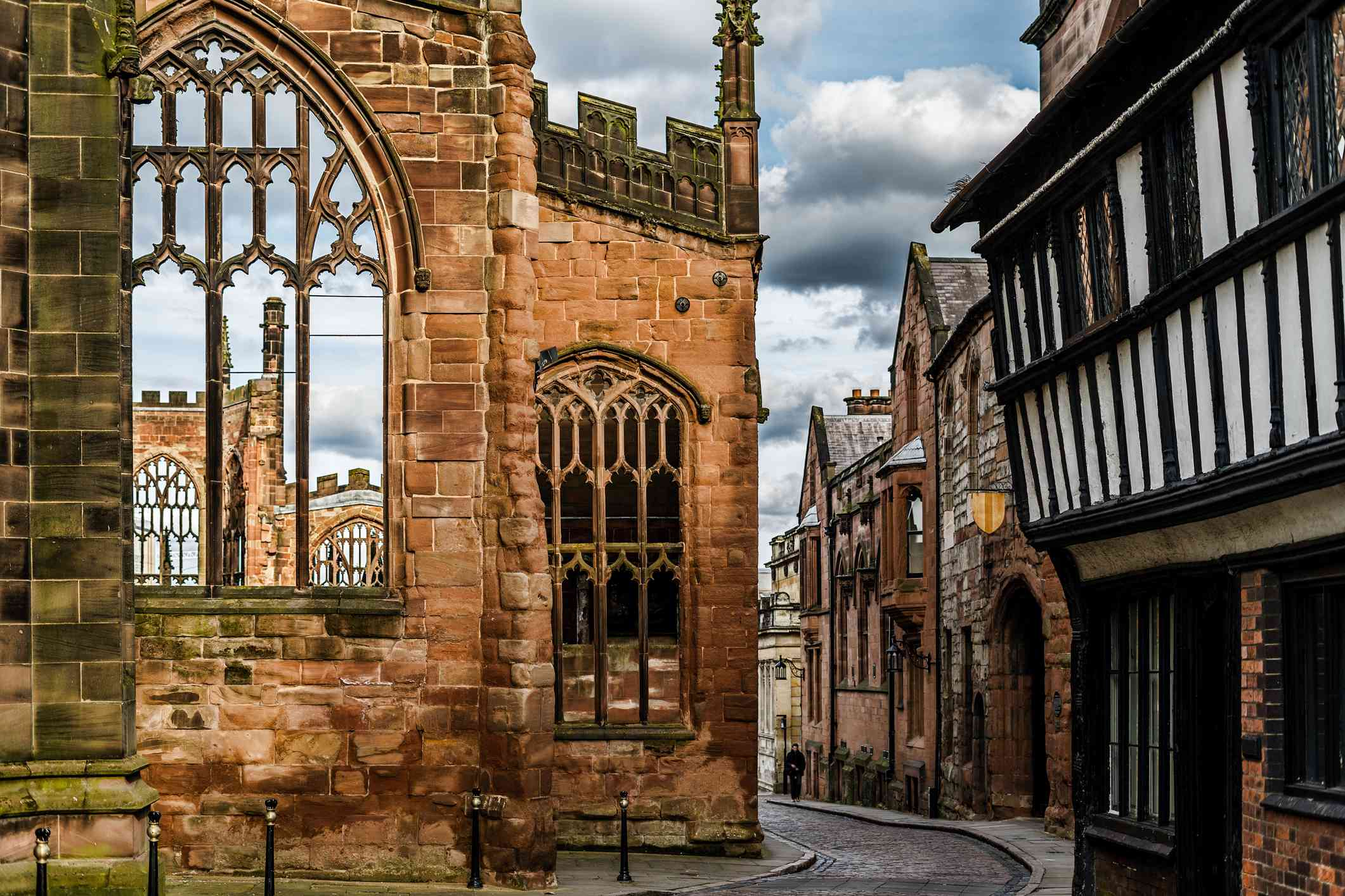 Old English Architecture street in Coventry