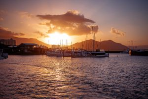 Sunset over the pier in Cairns