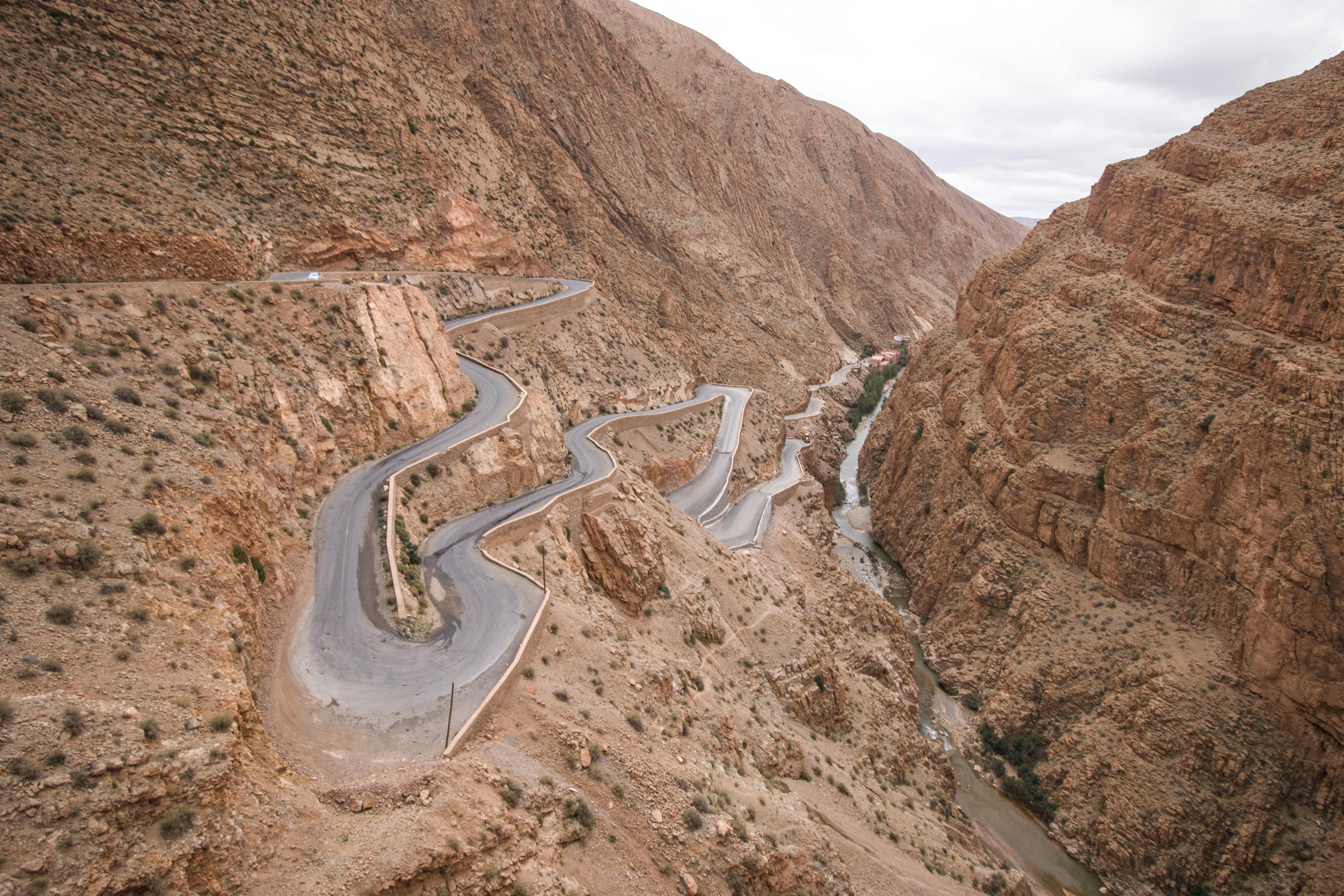 A windy road up a desert mountain in Dades Valley