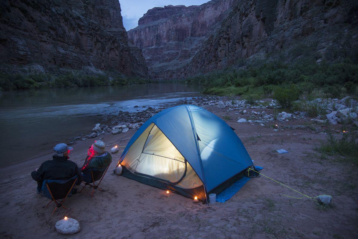 A campsite along the Colorado River in the Grand Canyon