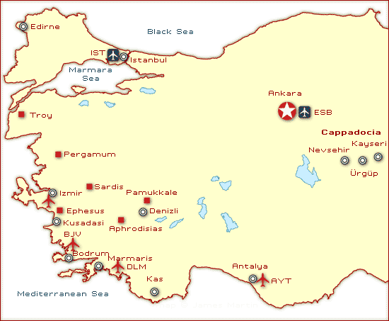 Western Turkey Travel Map and Guide