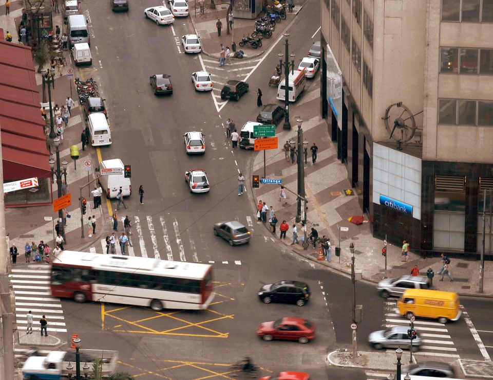 city street in Sao Paolo, Brazil