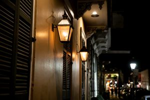Lights in a dim alley way in New Orleans