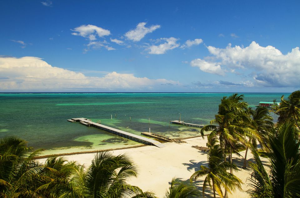 Beach and Barrier Reef at Caye Caulker, Belize