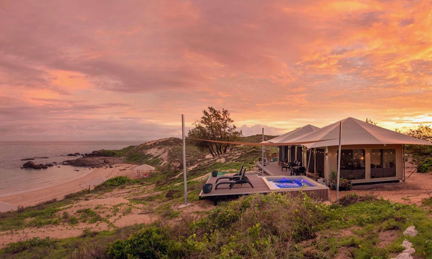 Pink sunset over Banubanu Beach Resort
