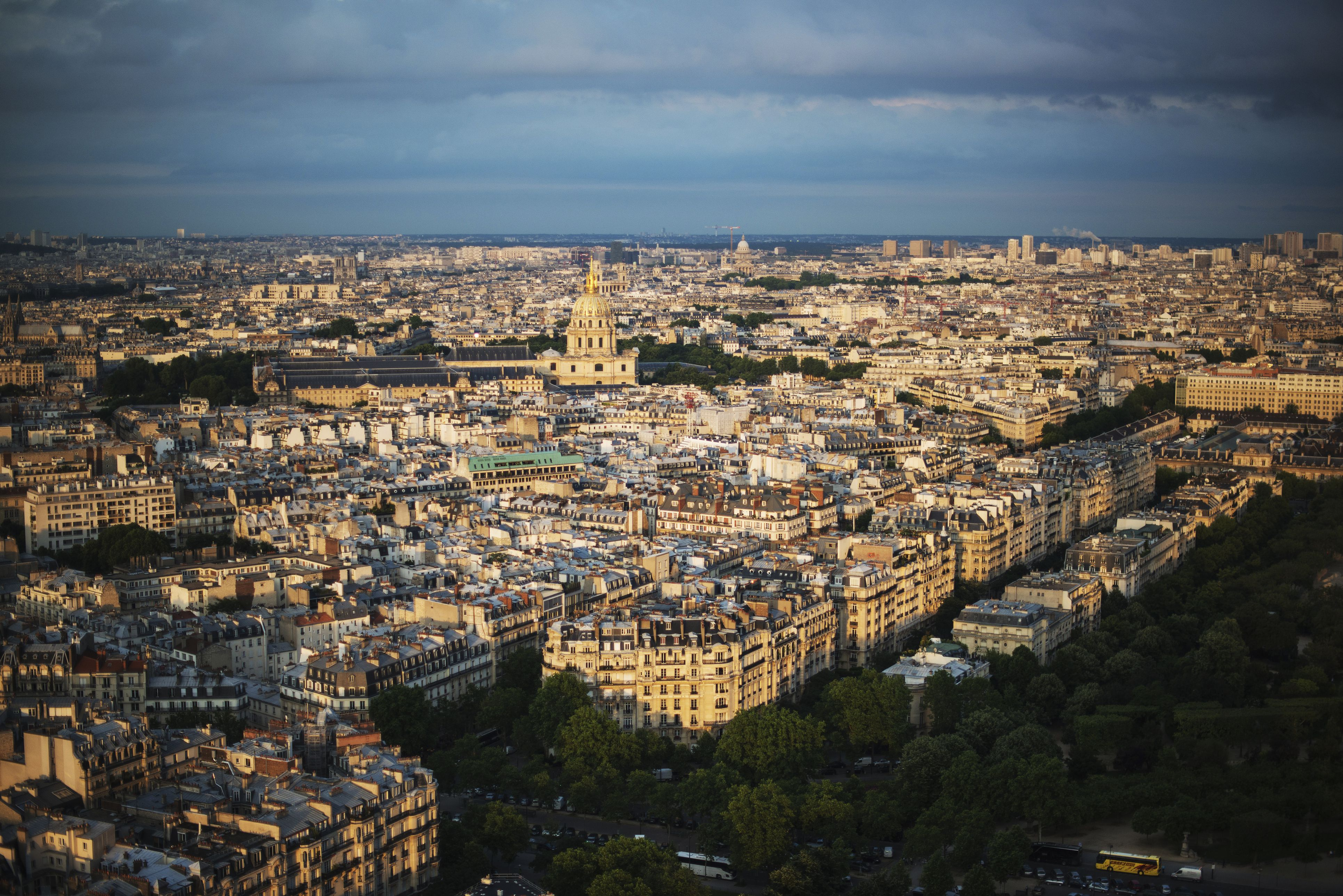 The view looking East at sunset from the top of the Eiffel Tower; Paris, France