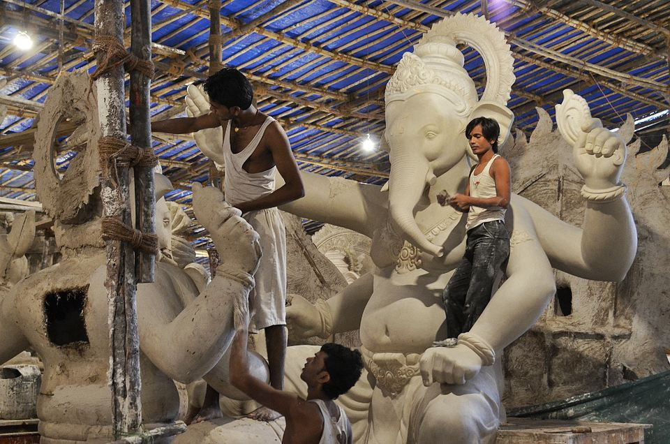 Artisans at a Lalbaug workshop in Mumbai