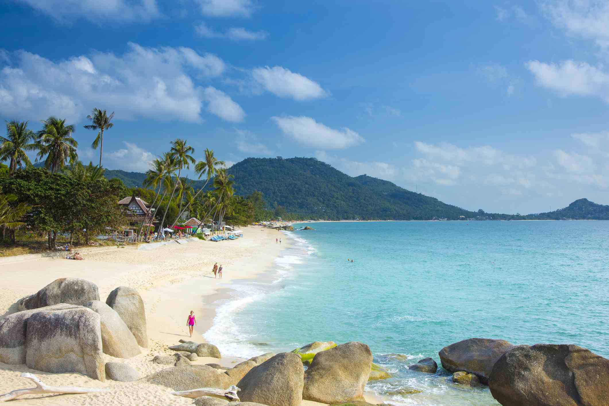 Sand Rocks And Palm Trees On Lamai Beach Koh Samui Thailand