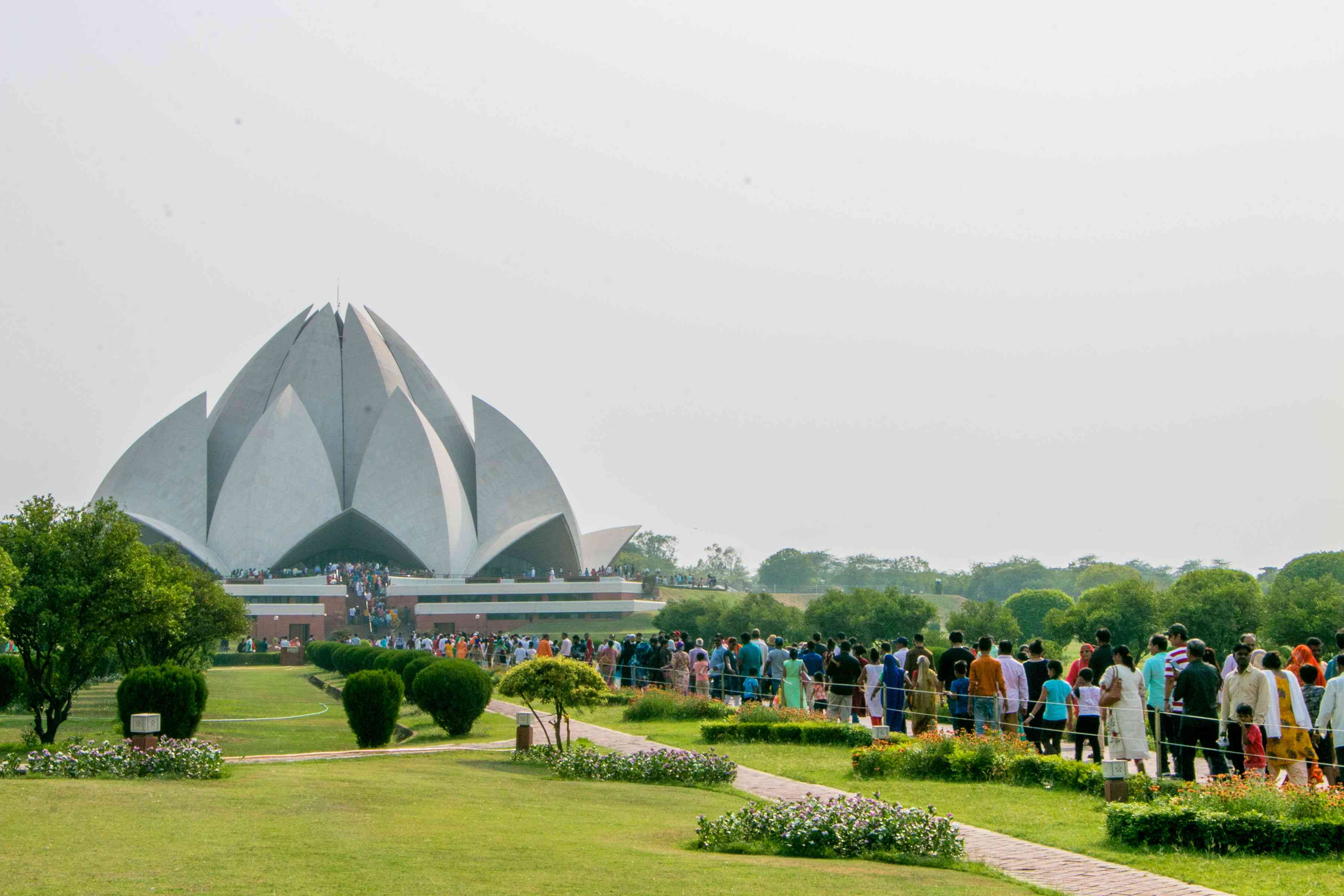 Line waiting to enter the Lotus Temple