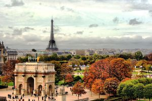 View of the Arc de Triomphe and Eiffel Tower in fall