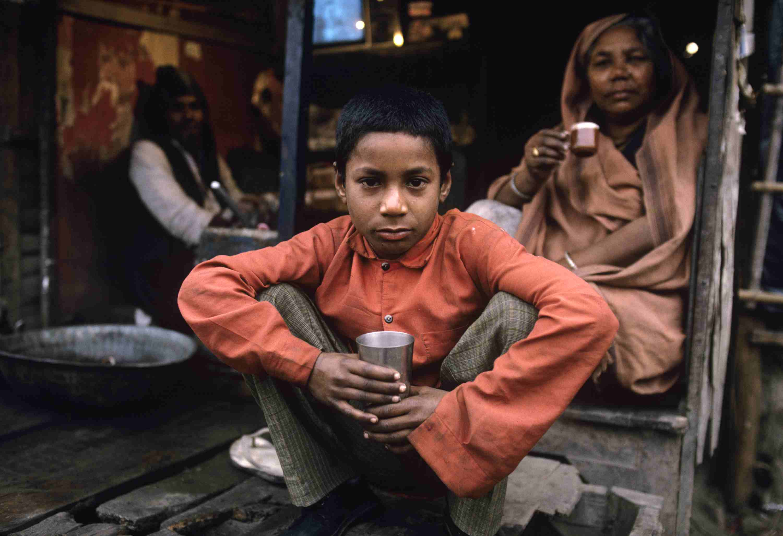 People in Indian slum.
