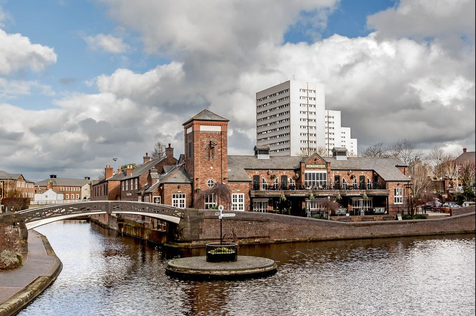 The Birmingham canal system with a roundabout where two canals meet in the Gas Street Basin.