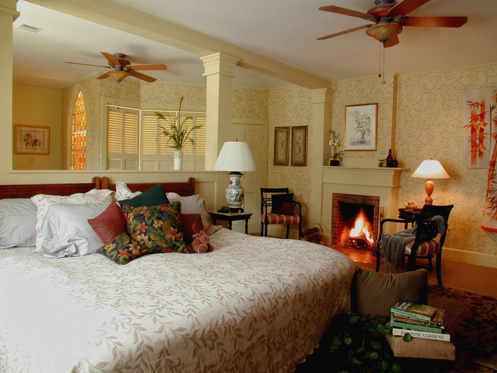 A guest room in the Notchland Inn