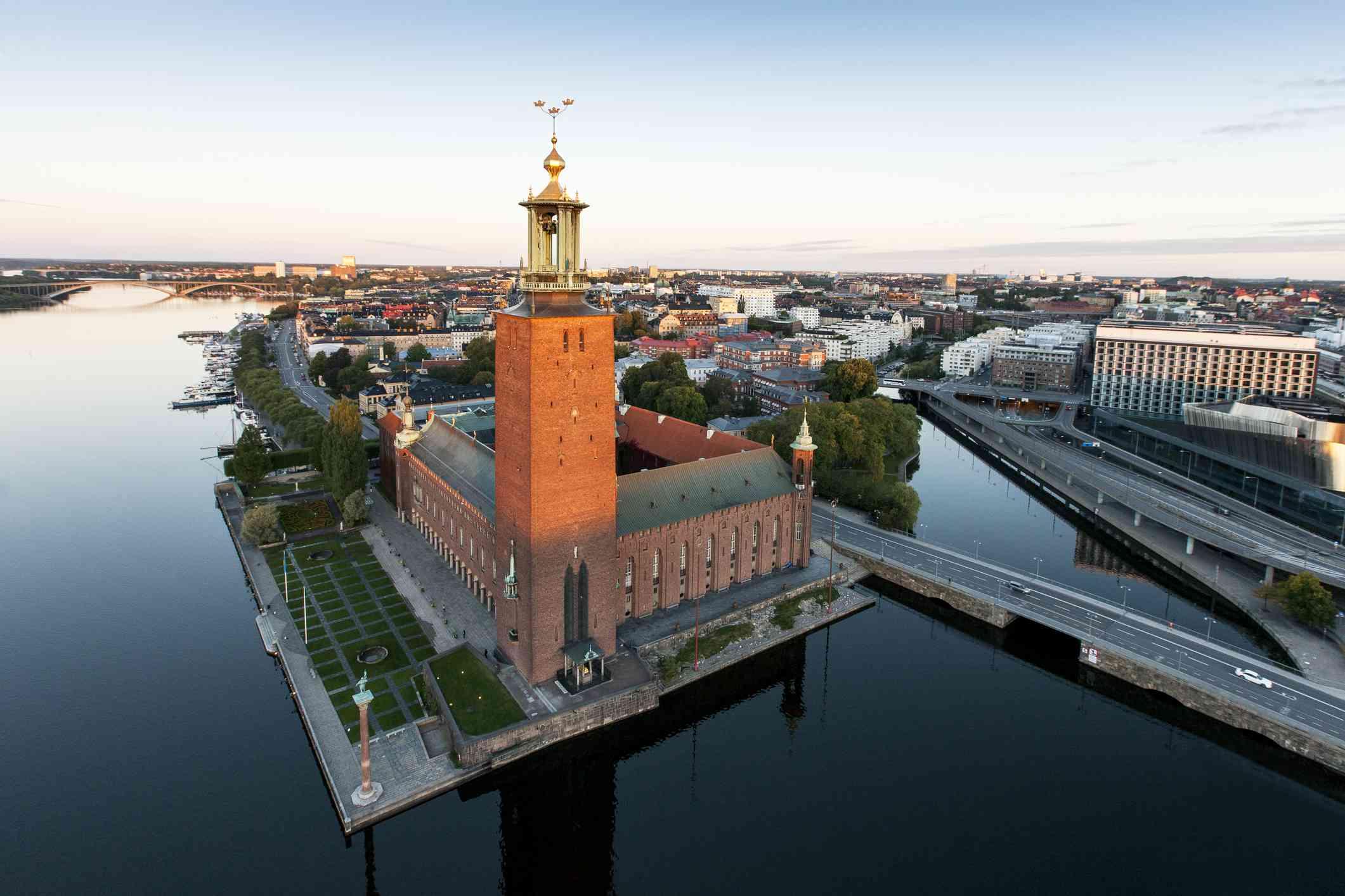 A city view including Stockholm City Hall