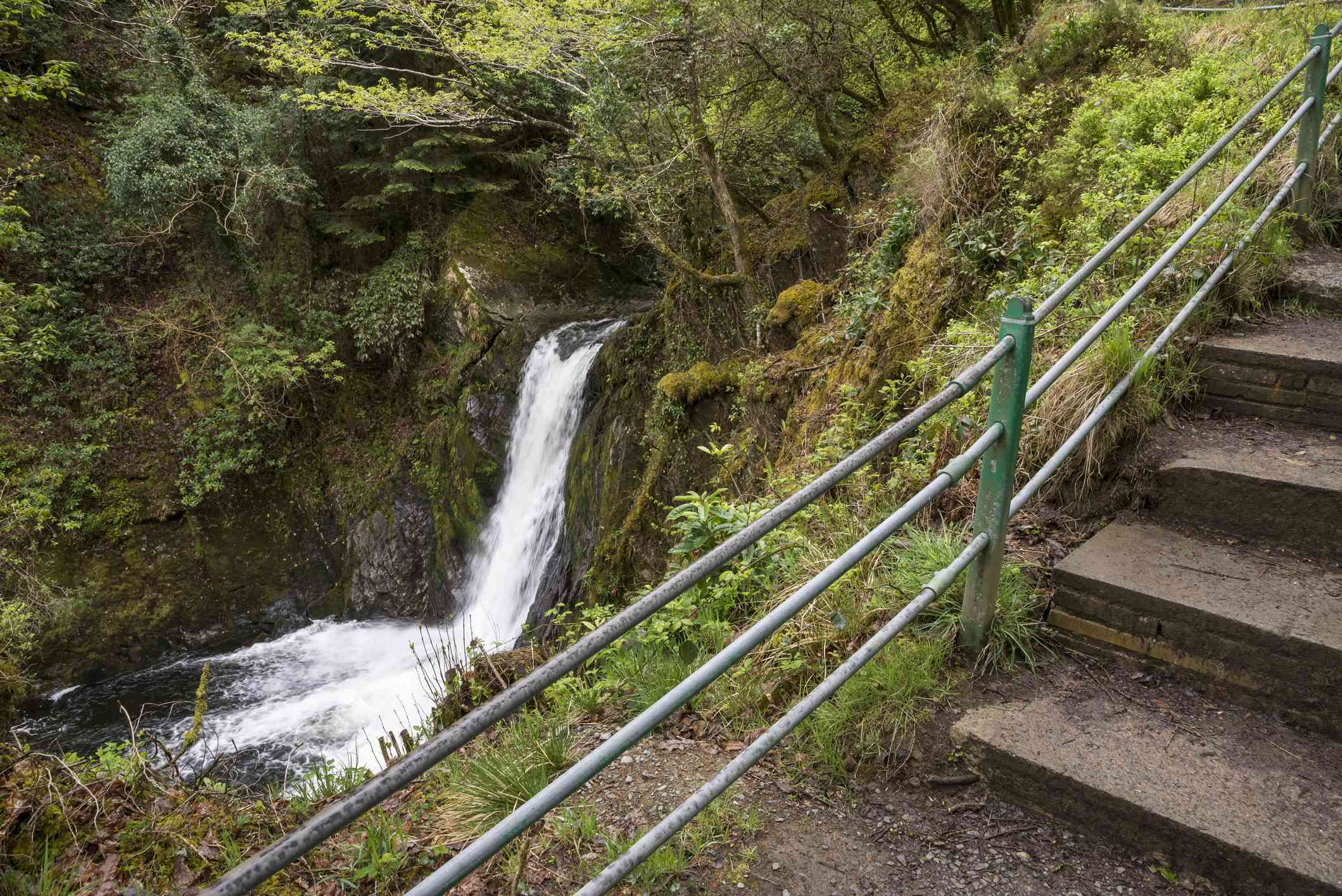 Stairs leading past a small waterfall