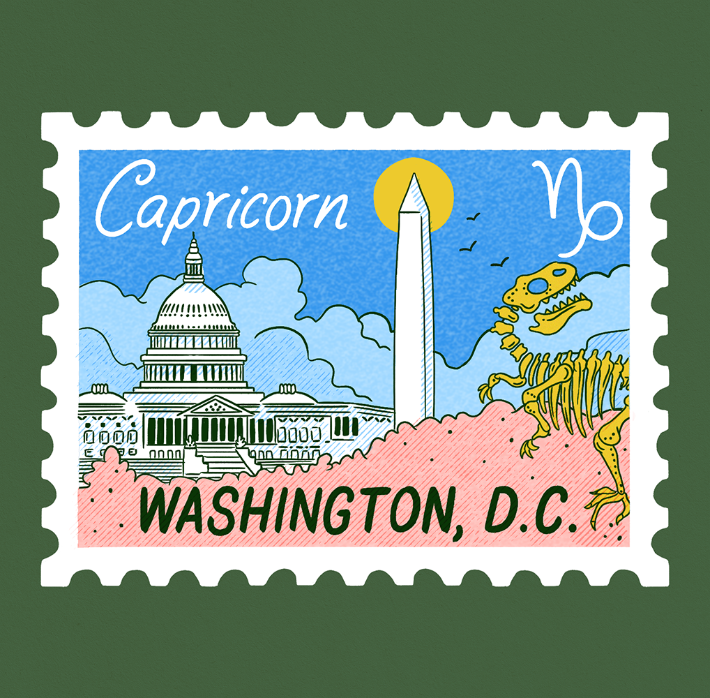 An illustration of a stamp with a scene of Washington D.C. with the cherry blossoms and the capitol building and washington monument in the background. A t-Rex skeleton in the foreground and Capricorn written on it.