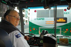 RTC driver Russ Mansfield at the wheel of his RTC RAPID bus in downtown Reno, Nevada