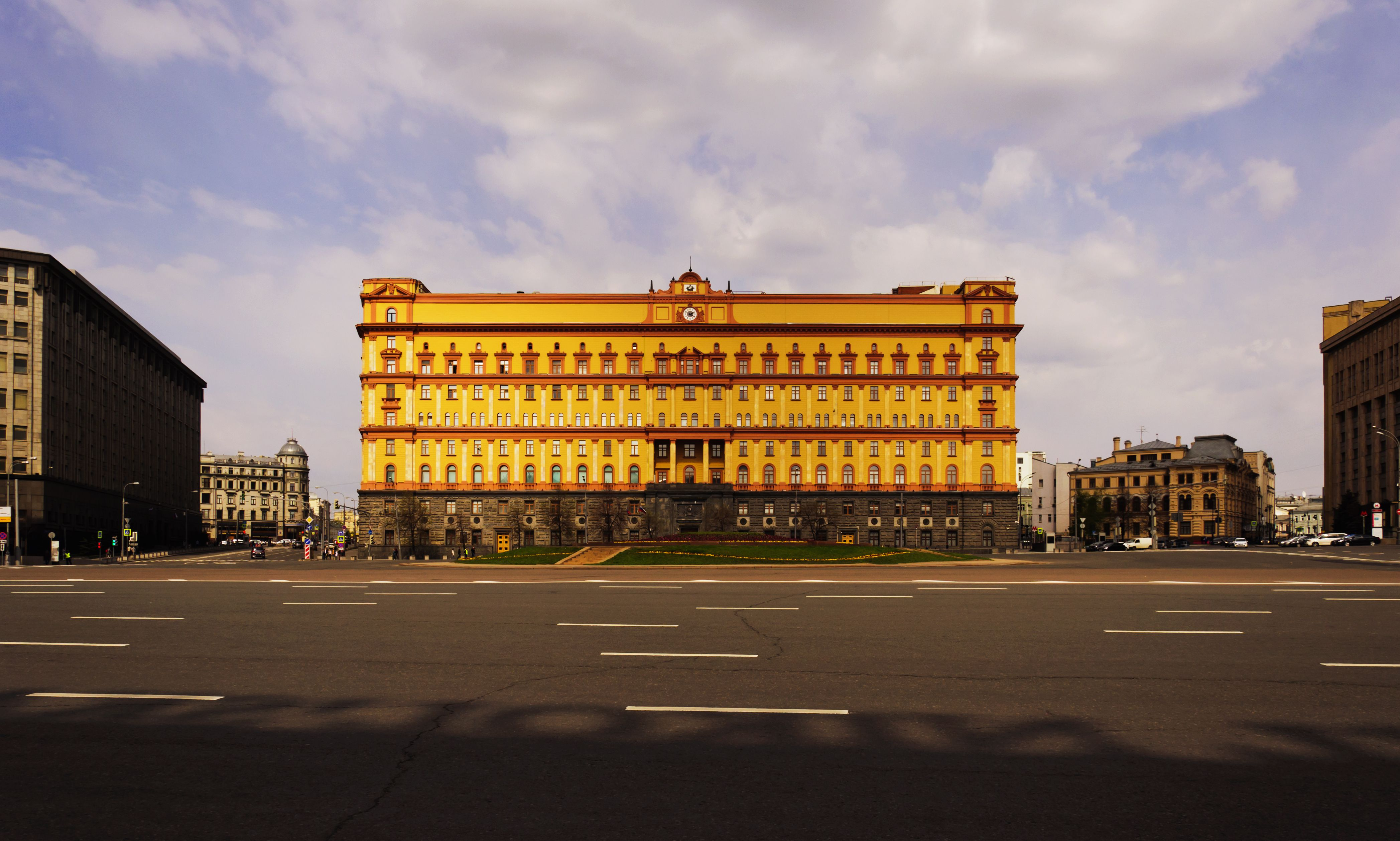 Facade building of the KGB on Lubyanka square, Moscow, Russia