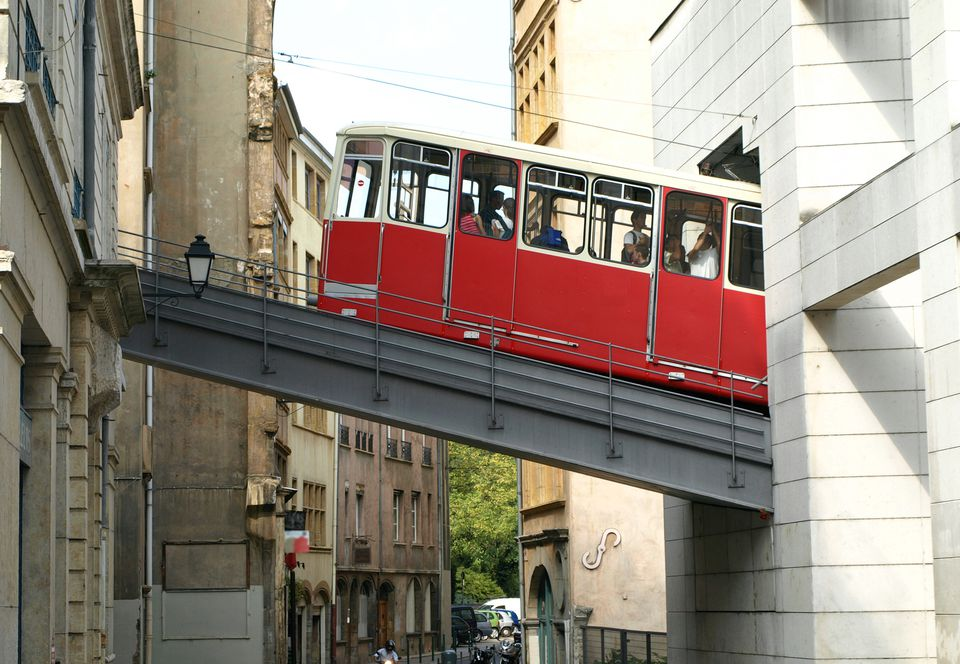 Funicular train ascends a hill in Lyon, France.