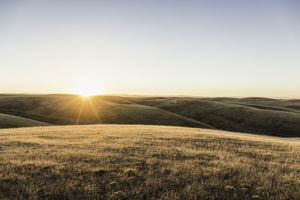 Sunset landscape view of rolling prairie hills, Bakersfield, California
