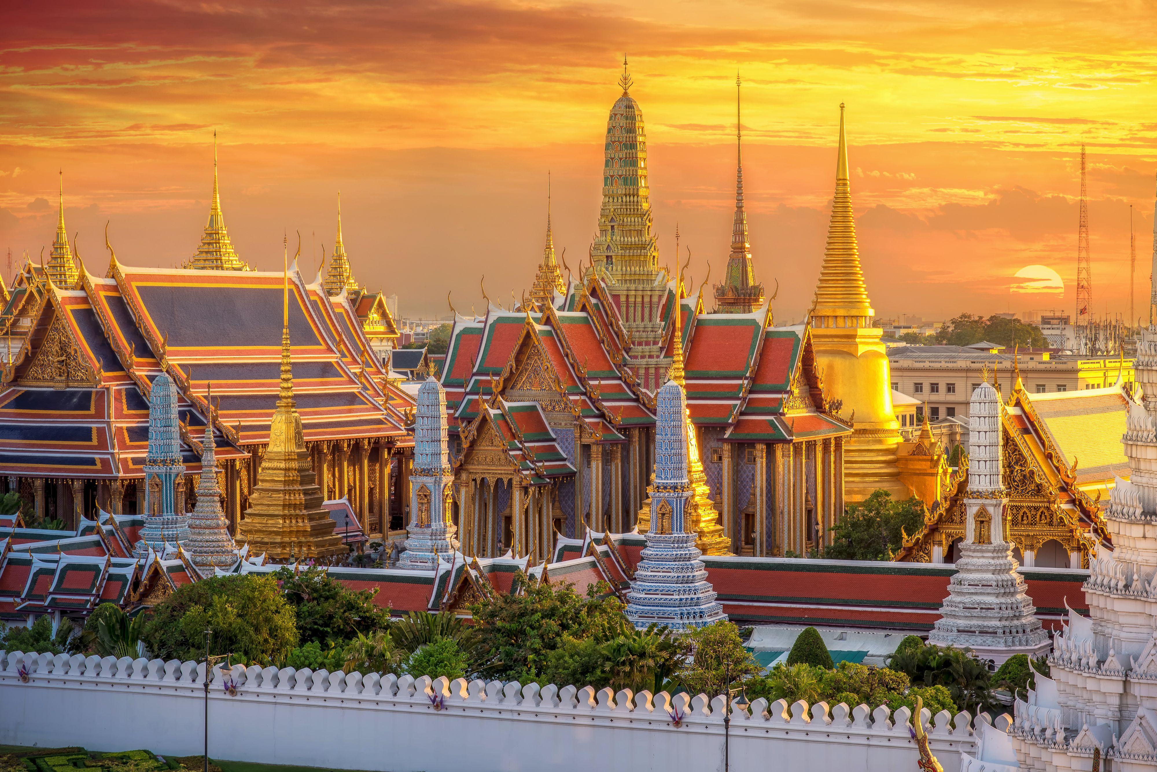 Wat Phra Kaew, a temple in Bangkok, at sunset