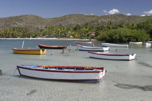 Boats float in clear waters in Guánica
