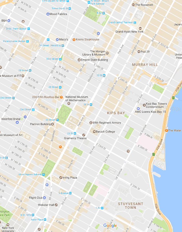Union Square Flatiron Murray Hill And Gramercy Map