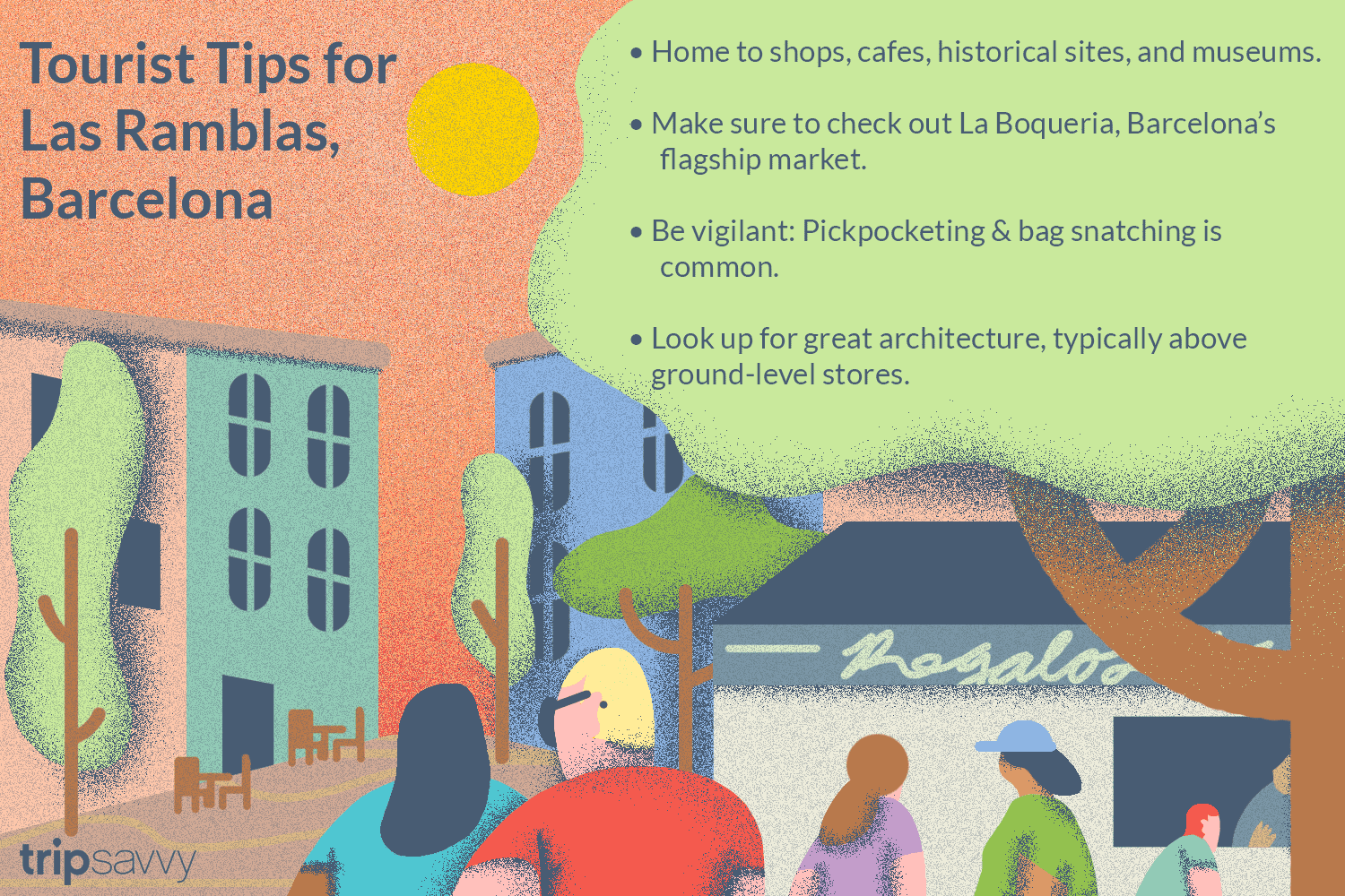 illustration of Las Ramblas with tips from the article
