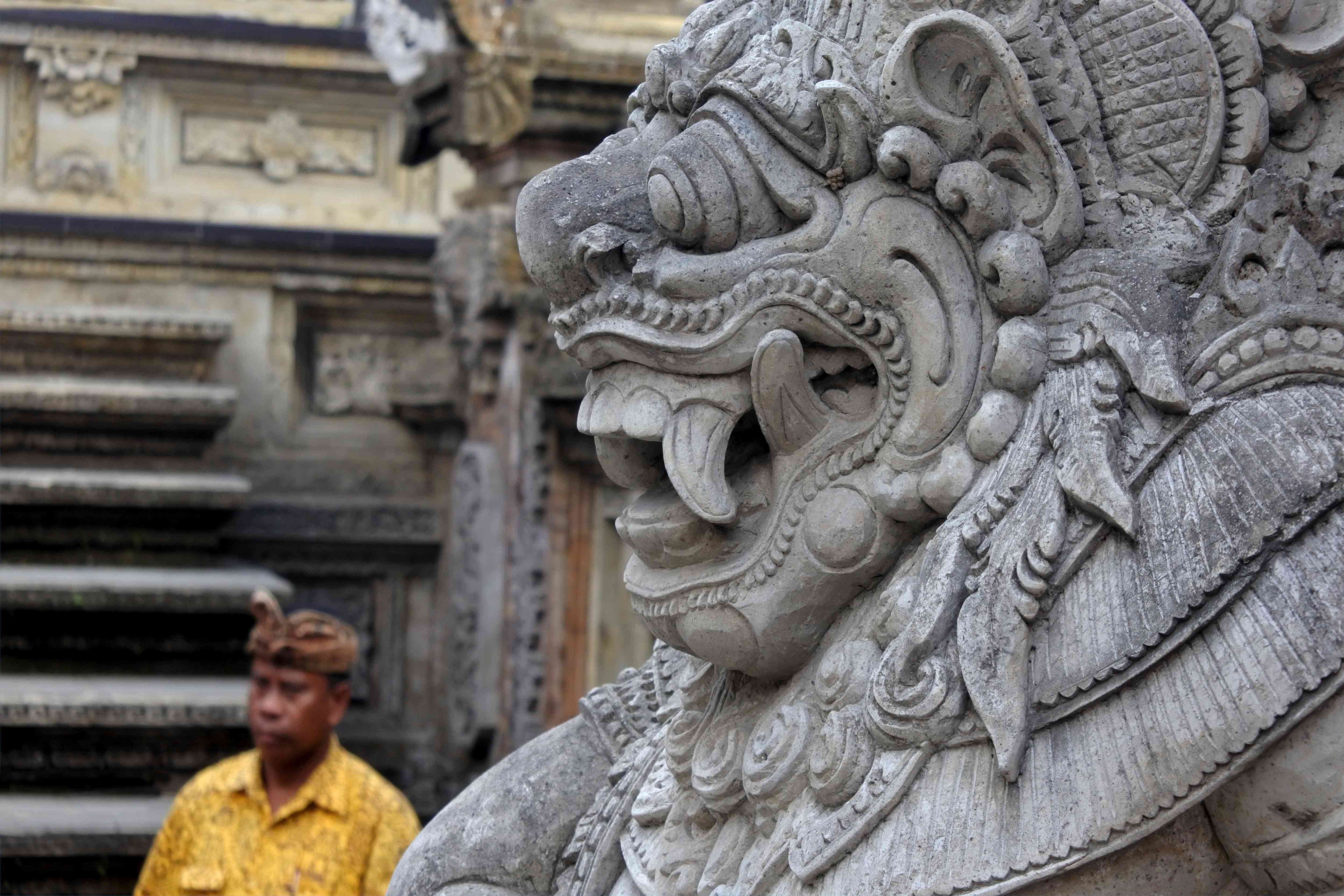 Stone sculpture at a Hindu temple in Bali