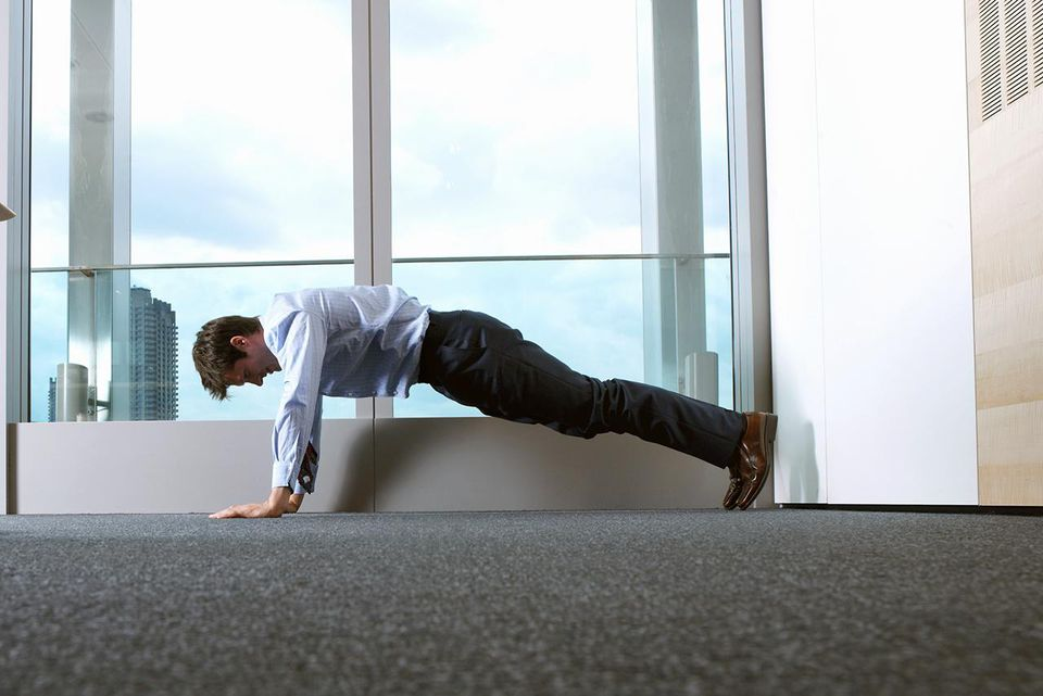 Businessman Doing Push-ups