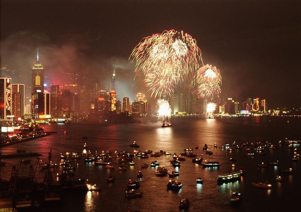FUEGOS ARTIFICIALES CHINOS DE AÑO NUEVO EN HONG KONG