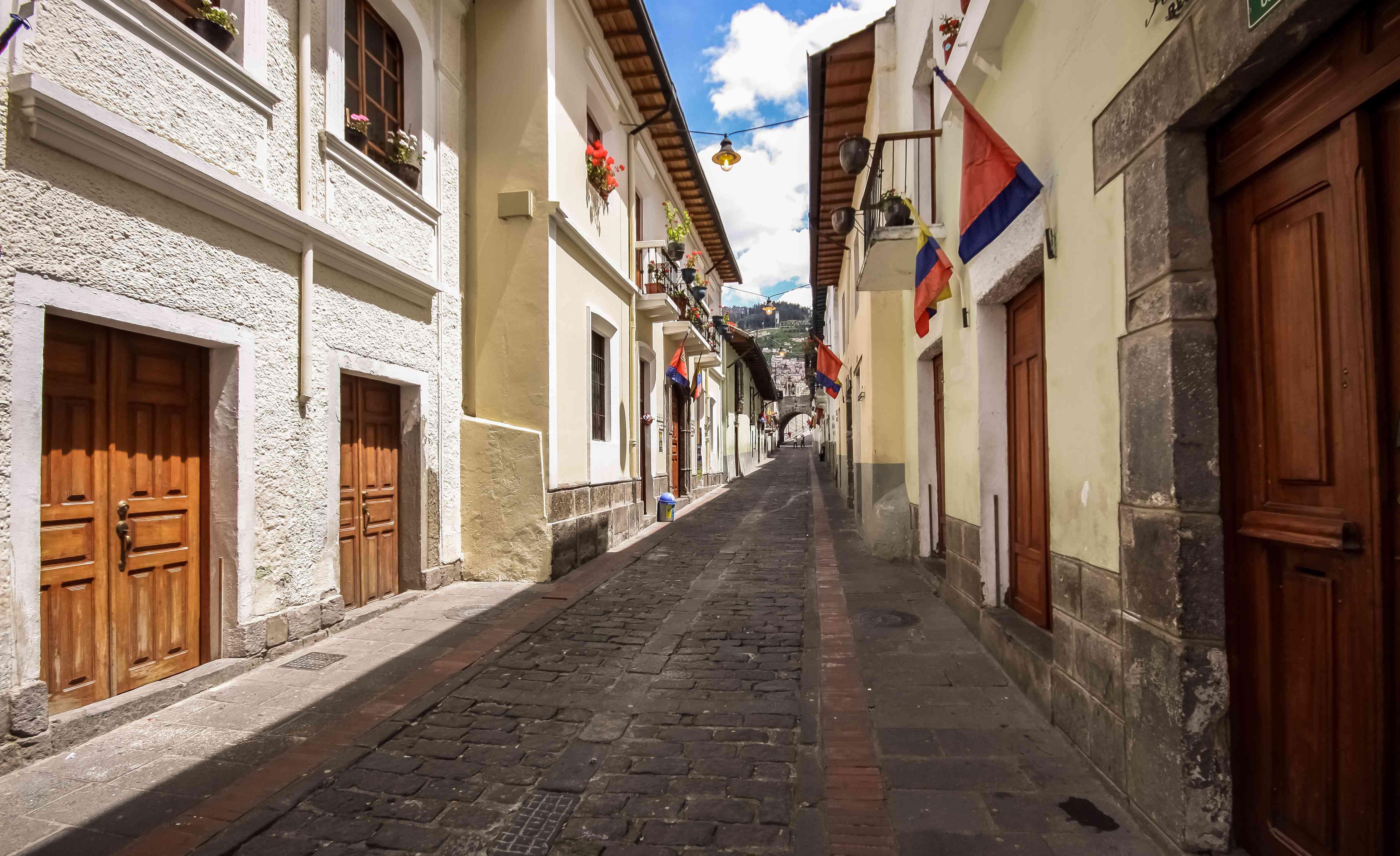 Calle La Ronda, typical colonial street in historic district, Quito