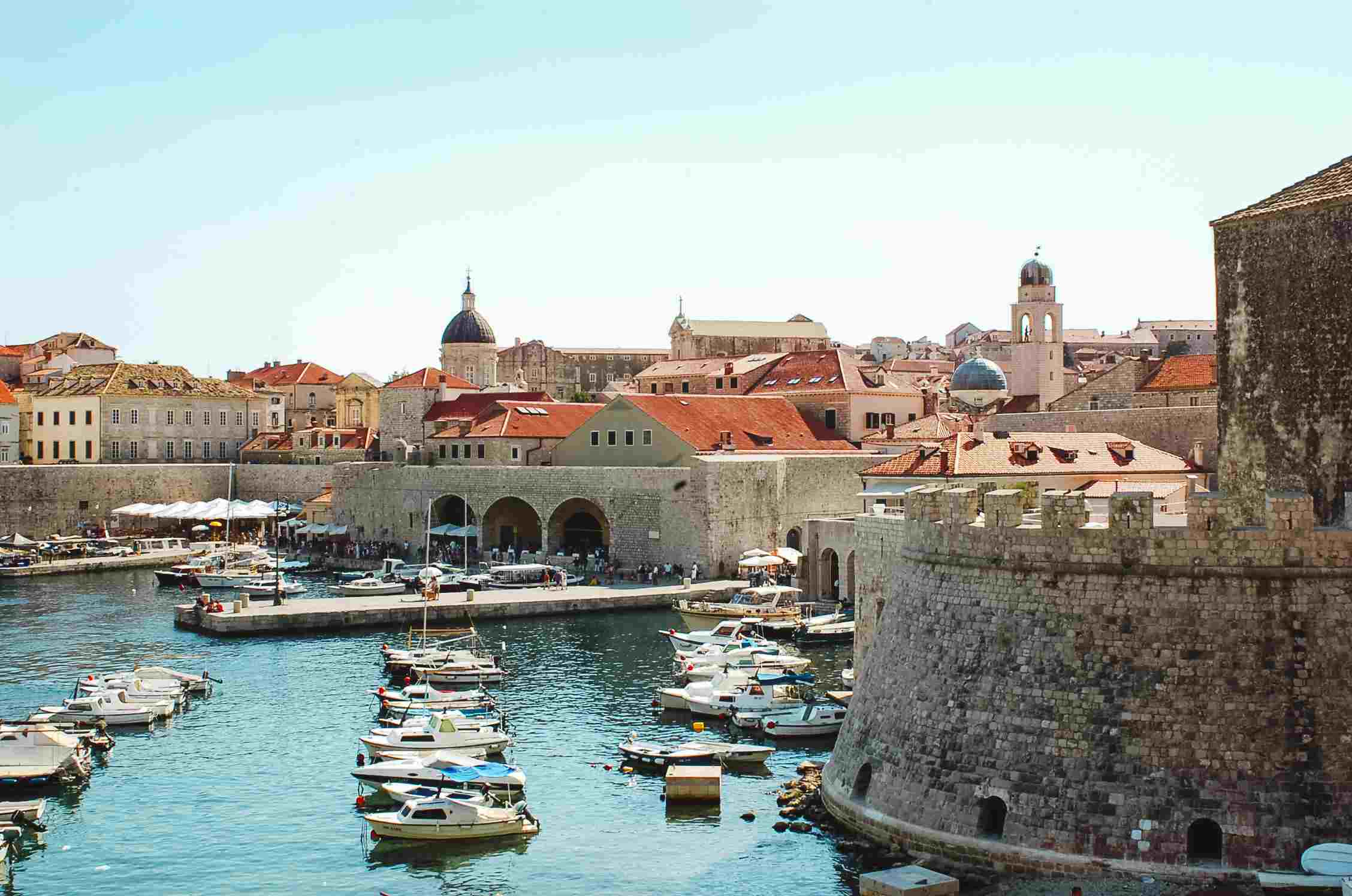 The old fortress and harbor in Dubrovnik