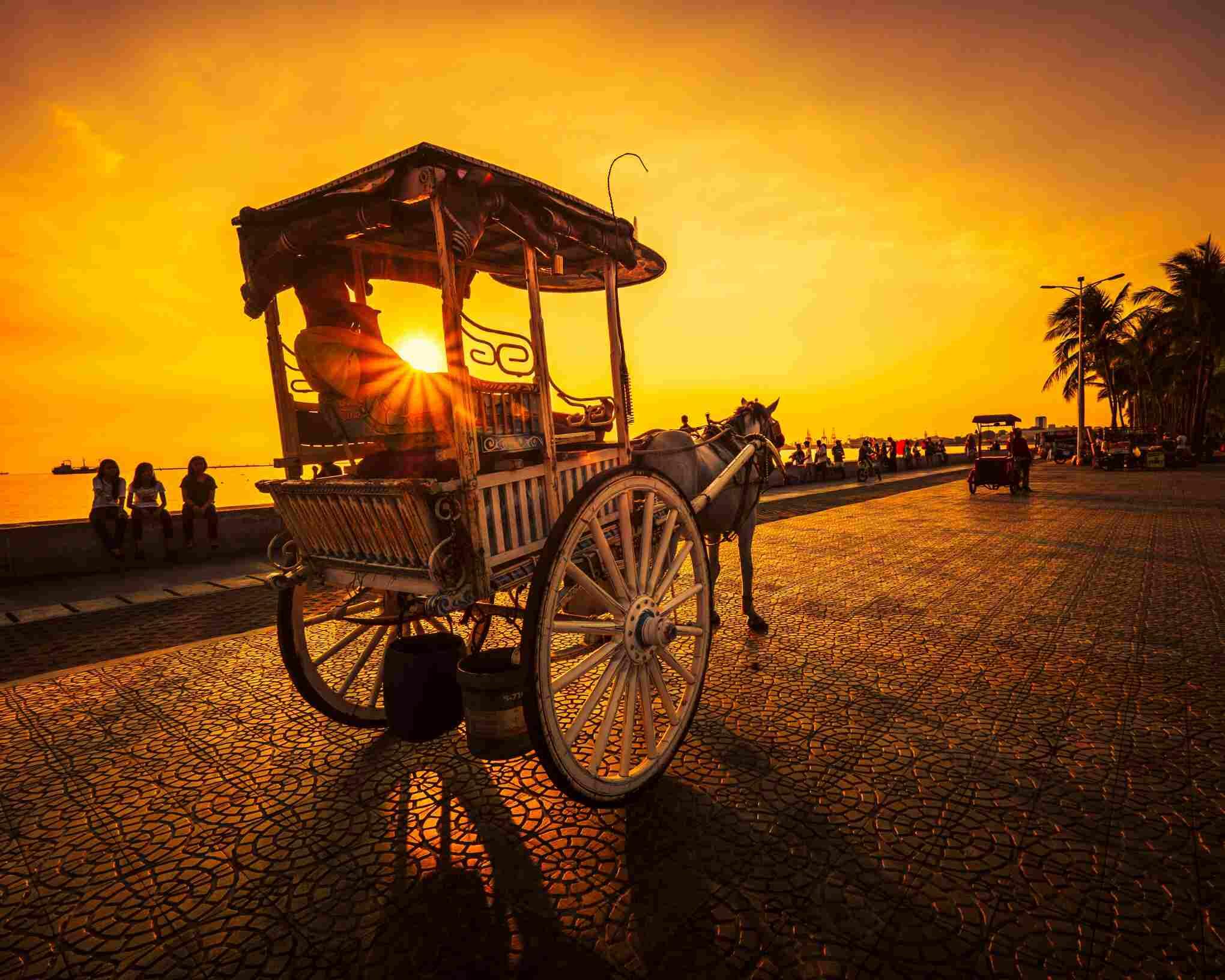 Calesa (horse-drawn cart) in Manila, Philippines