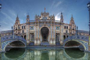 Bridge of Plaza Espana in Sevilla , Spain