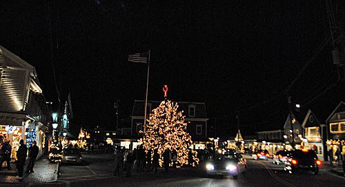 Kennebunkport Christmas Prelude - Photo of Christmas Tree in Dock Square Kennebunkport Maine